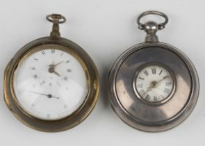 A silver half-hunting pair cased keywind pocket watch, the gilt fusee movement with verge