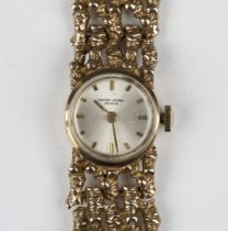 A Favre-Leuba 9ct gold lady's bracelet wristwatch, the signed silvered dial with gilt baton hour