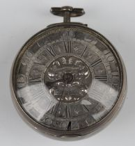 A silver keywind open-faced pocket watch, mid-18th century, the Continental gilt fusee movement with