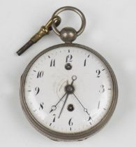 A 19th century keywind open-faced pocket alarm watch with Continental fusee movement sounding on a
