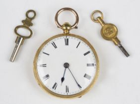 An 18ct gold cased keywind open-faced fob watch, the gilt fusee movement with a lever escapement,