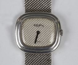 A Roy King silver cased bracelet wristwatch, the signed textured dial detailed 'Swiss', the case