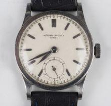 A Patek Philippe stainless steel circular cased gentleman's wristwatch, Ref. 96, circa 1940, the