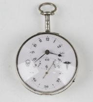 A George III and later silver cased keywind open-faced pocket watch, the gilt fusee movement with