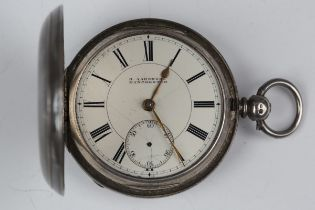 A late Victorian silver keywind hunting cased pocket watch, the gilt fusee movement with lever
