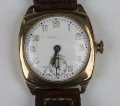 A Longines 9ct gold cushion cased gentleman's wristwatch, the signed jewelled lever movement