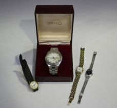 A Seiko Electronic 'EL-370' gentleman's calendar wristwatch, the signed silvered dial with