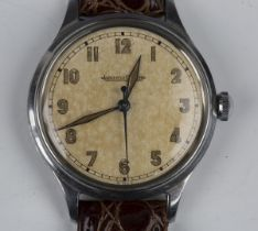 A Jaeger-LeCoultre stainless steel circular cased gentleman's wristwatch, circa 1940s, the signed