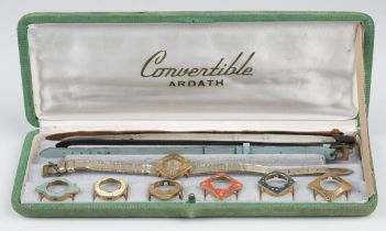 An Ardath Convertible gilt metal lady's dress wristwatch, circa 1950s, with a selection of seven