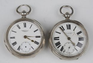 A late Victorian silver cased keywind open-faced gentleman's pocket watch, the enamelled dial with