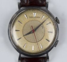 A Jaeger-LeCoultre Memovox alarm steel cased gentleman's wristwatch, the signed jewelled P489/1