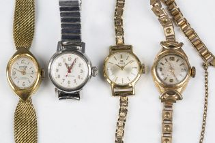 A Tissot gilt metal fronted and steel backed lady's wristwatch, fitted to a 9ct gold bracelet with a