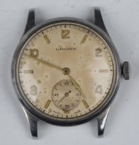 A Longines steel cased gentleman's wristwatch, circa 1940, the signed jewelled 12.682 caliber