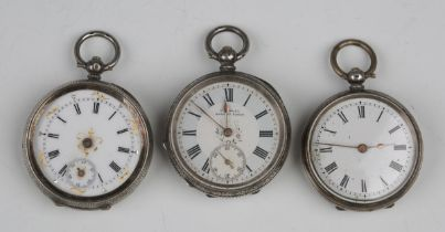 Two silver cased keywind open-faced ladies' fob watches, both detailed '0,935', case diameters 3.8cm