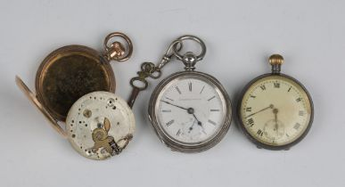 A silver cased keywind open-faced pocket watch, the dial and movement detailed 'Congress Watch',