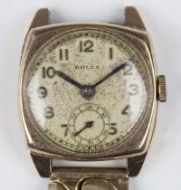 A Rolex 9ct gold cushion cased mid-size wristwatch, the signed jewelled movement detailed '