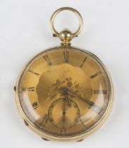 An 18ct gold cased keywind open-faced gentleman's pocket watch, the gilt movement signed 'I.