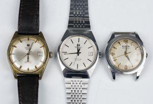 A Tissot Seastar Quartz gentleman's steel bracelet wristwatch, case width 3.4cm, a Tissot