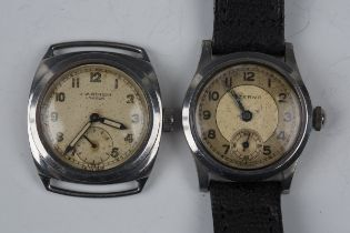 A J.W. Benson steel cased wristwatch, the signed circular dial with Arabic numerals and subsidiary