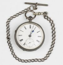A silver cased keywind open-faced gentleman's pocket watch, the gilt fusee movement with lever