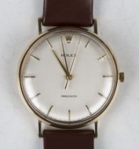 A Rolex Precision 9ct gold circular cased gentleman's wristwatch with signed jewelled movement,