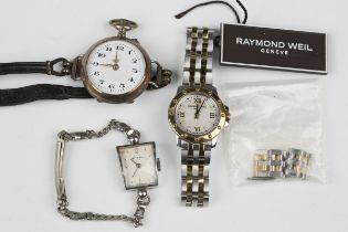 A German silver keyless wind open-faced lady's fob watch, detailed '0,800', converted for wear as
