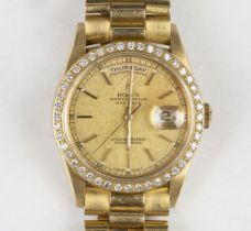 A Rolex Oyster Perpetual Day-Date 18ct gold cased gentleman's bracelet wristwatch, circa 1990,