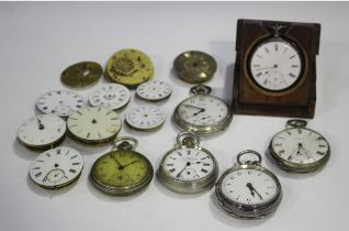 A Victorian silver cased keywind open-faced pocket watch with gilt fusee movement, the backplate