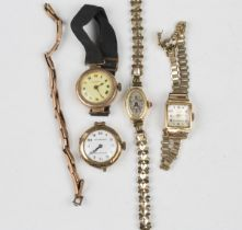A Helbros 18ct gold oval cased lady's wristwatch, import mark London 1924, case width 1.3cm, on a