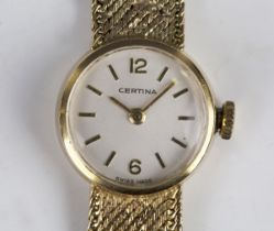 A Certina 9ct gold lady's bracelet wristwatch, the signed circular dial with Arabic numerals and