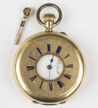 A gold keyless wind half-hunting cased gentleman's pocket watch with unsigned jewelled lever