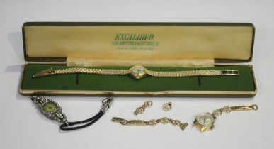 An Excalibur 9ct gold lady's bracelet wristwatch, the signed silvered dial with black Arabic