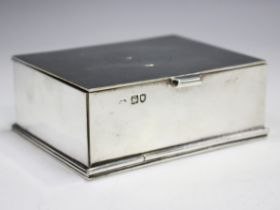 A late Victorian silver rectangular ecclesiastical box with gilt interior, the hinged lid engraved