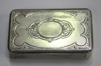 A mid-19th century Austro-Hungarian silver rectangular snuff box, the hinged lid engraved with a