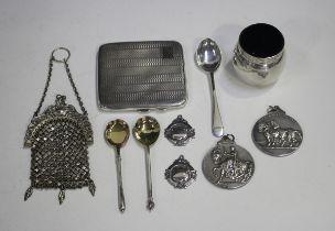 A George V silver engine turned square cigarette case, Birmingham 1929 by Joseph Gloster Ltd,