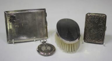 A George V silver curved rectangular engine turned cigarette case, Birmingham 1927, length 11.5cm,
