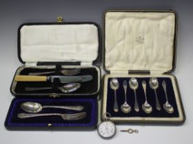 A George V silver christening fork and spoon, Sheffield 1912, cased, another silver christening fork