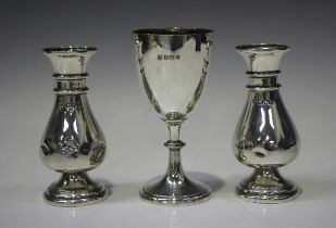 A George V silver goblet, the 'U' shaped body on a tapering knop stem, Birmingham 1927 by William