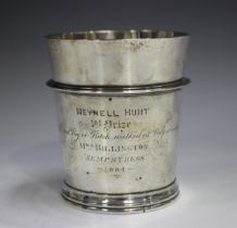 A Victorian silver tapering cylindrical beaker, the girdled body presentation inscribed 'Meynell