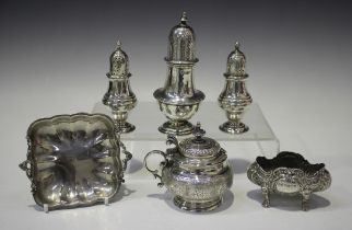 A Victorian silver circular mustard of squat baluster form with Eastern style floral decoration,