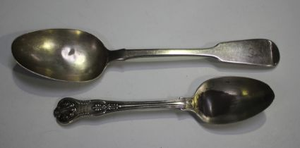 An early Victorian silver Fiddle pattern tablespoon, Exeter 1840 by Robert Williams, length 22.