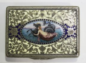 An early 20th century Continental .800 silver and enamelled rectangular snuffbox, probably Viennese,