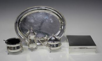 An Elizabeth II silver oval dressing table tray with beaded rim, London 1973 by L.P., length 18.5cm,