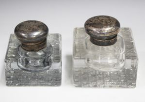 A George V silver mounted square cut glass inkwell, Birmingham 1915 by S. Blanckensee & Son Ltd,