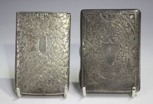 A late Victorian Needham's patent silver card case of rectangular form, engraved with foliate