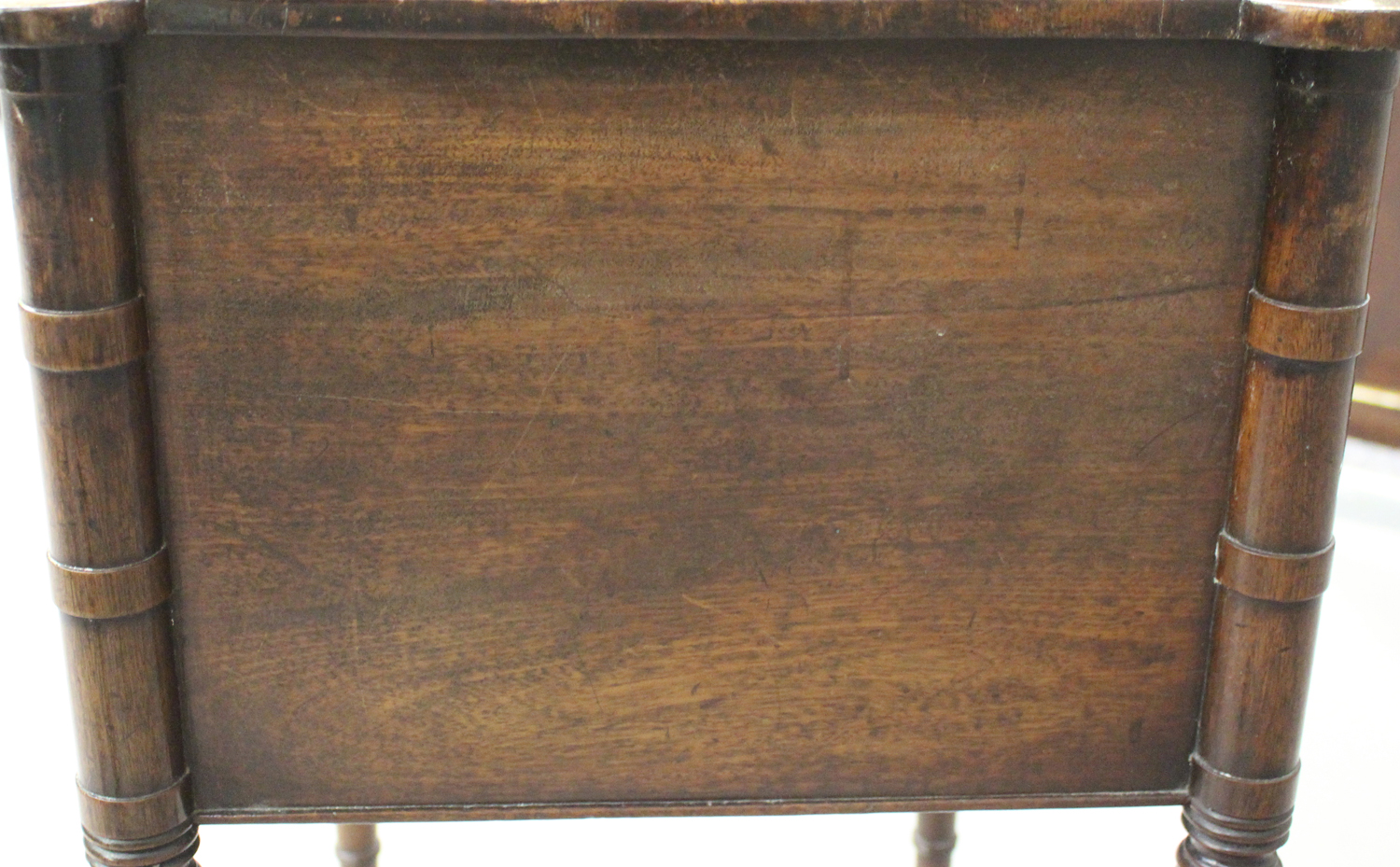 A George IV figured mahogany side table with projecting corners, the two drawers with bone handles - Image 4 of 8