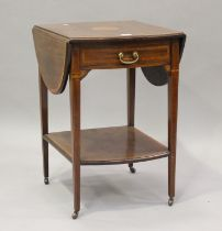 An Edwardian mahogany and satinwood crossbanded drop-flap occasional table, height 72cm, width 95cm,