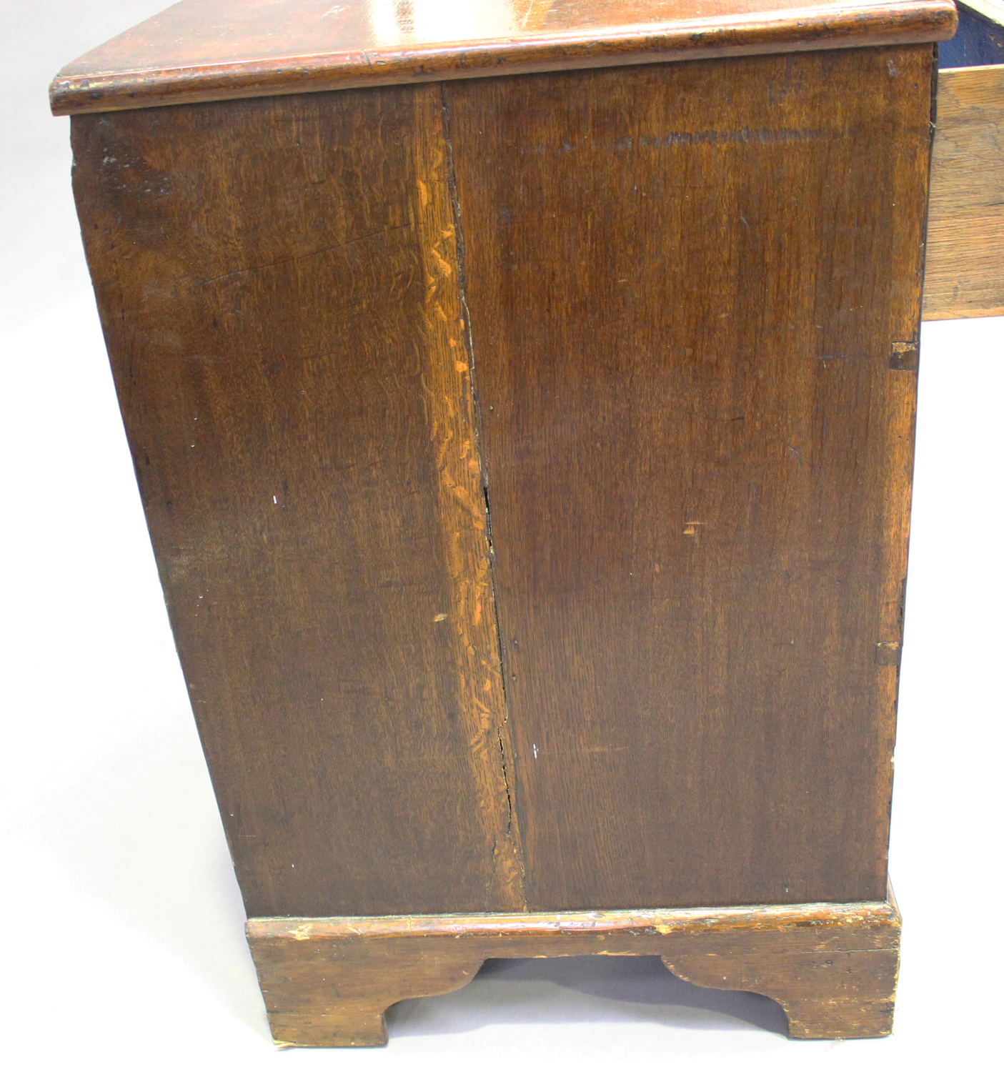 An 18th century oak and walnut chest of three drawers with crossbanded borders, on bracket feet, - Image 5 of 7