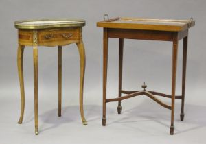 A 20th century Louis XVI style kingwood kidney shaped side table with white marble top, on