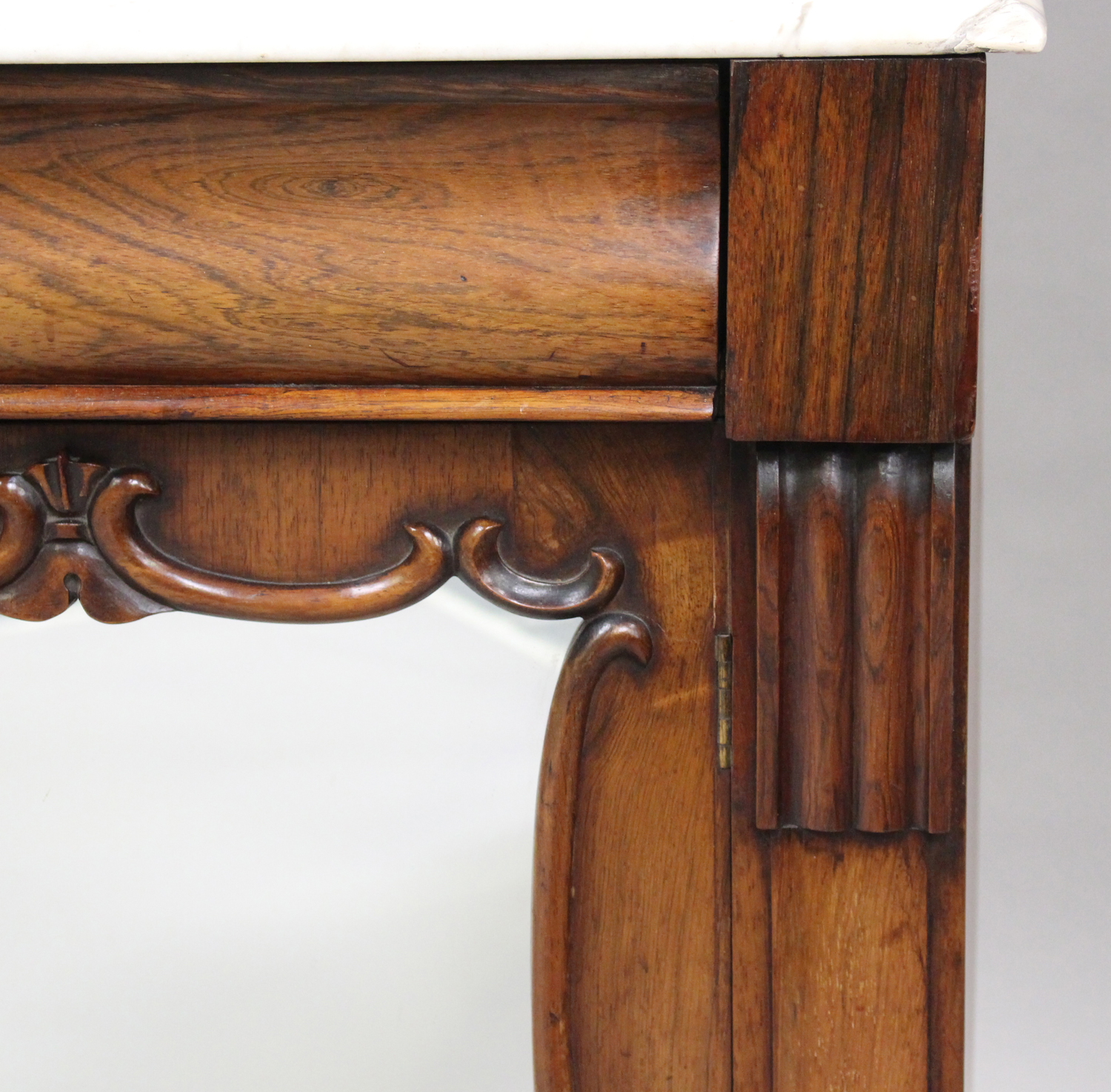 A Victorian rosewood and white marble-topped side cabinet, fitted with a pair of mirrored doors, - Image 6 of 8